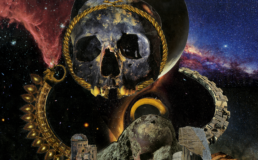 detail from top section of Hell #37: A giant skull-planetoid, missing it's lower jaw, with a gold circlet around it's face, floats above a temple made from the petrified body of a dead god. The temple has two wings, one made of gold and the other of stone, which arc back into the distance, forming two semi circles that keep the godhead in place. The temple itself has a halo of golden light, and the sky behind the temple is dark, full of stars and nebulae that are red on the left and blue on the right.